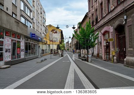 ARAD ROMANIA - 05.02.2016: old city center street with people