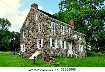 Chadds Ford Pennsylvania - June 9 2015: Benjamin Ring House used as headquarters by George Washington during the 1777 Revolutionary War Battle of the Brandywine *
