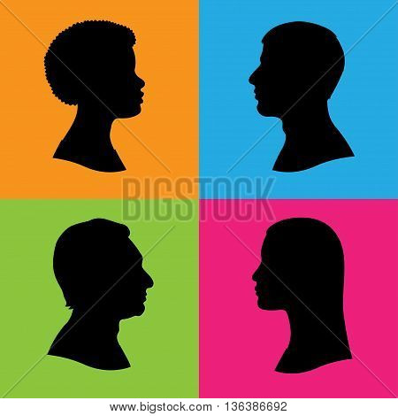 Four vector silhouettes of human head in profile. Two women and two men of various races and ethnicities. Black isolated silhouettes on color background.