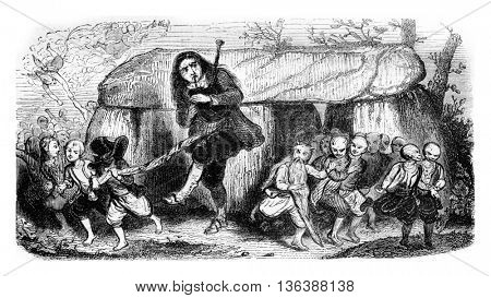 The legend of the bagpipe player, vintage engraved illustration. Magasin Pittoresque 1843.