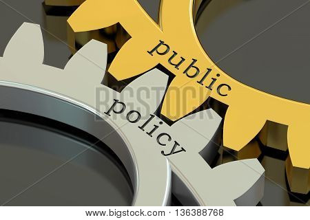 public policy concept on the gearwheels 3D rendering