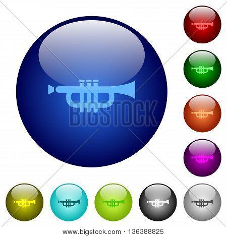 Set of color trumpet glass web buttons.