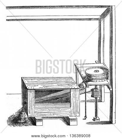 Mechanical sifter vsrs invented after 1552, vintage engraved illustration. Magasin Pittoresque 1852.