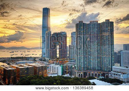 Hong Kong Modern City sunset