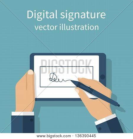 Digital signature on tablet. Vector illustration flat design. Businessman hands holding a tablet for signature. Modern technology business.