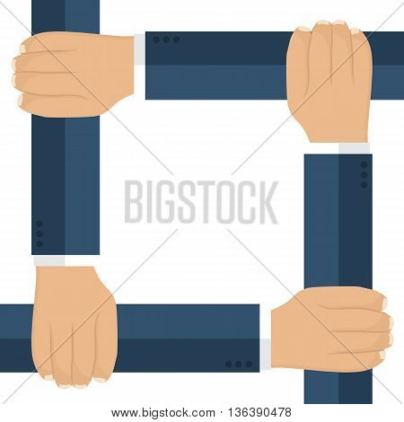Businessmen are connected by the hands as a symbol of unification. Isolated hands of men in suits. Vector illustration flat design. Group work team of people. Template for text slogans quotes.