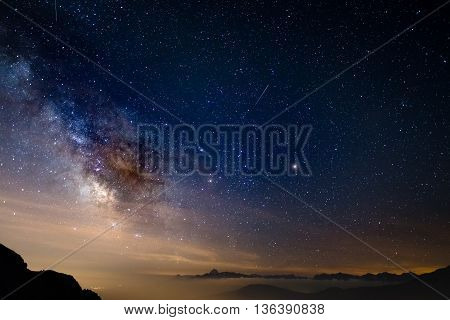 The colorful glowing core of the Milky Way and the starry sky captured at high altitude in summertime on the Italian Alps Torino Province. Mars and Saturn glowing mid frame. poster