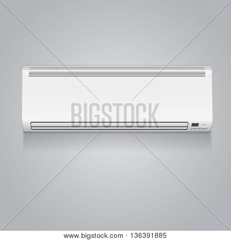 Realistic white air conditioner vector isolated illustration