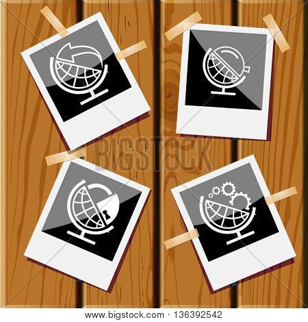 4 images: globe and gears, globe and loupe, globe and lock, globe and arrow. School globe set. Photo frames on wooden desk. Vector icons.