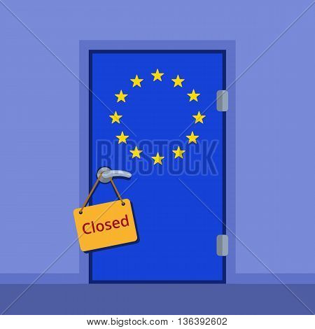 Do not disturb plate on the door handle. European Union closed door flat color vector illustration. EU stars flag cartoon image.