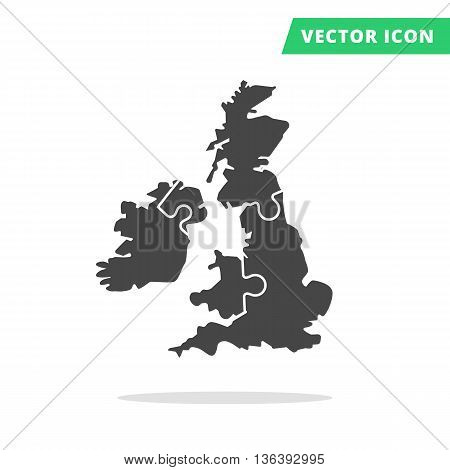 United Kingdom in puzzle shape, black vector map silhouette icon, UK membership England, Great Britain, Scotland, Wales, Northern Ireland, constructor components collected