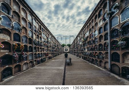 Barcelona Spain - May 24 2015. Columbarium with cinerary urns at El Cementerio de Poblenou simply called Poblenou Cemetery in Poblenou district of Barcelona