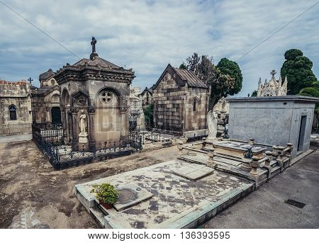 Barcelona Spain - May 24 2015. Graves at El Cementerio de Poblenou simply called Poblenou Cemetery in Poblenou district of Barcelona