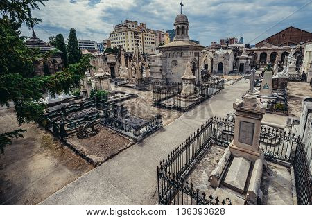 Barcelona Spain - May 24 2015. View of tombs at El Cementerio de Poblenou simply called Poblenou Cemetery in Poblenou district of Barcelona