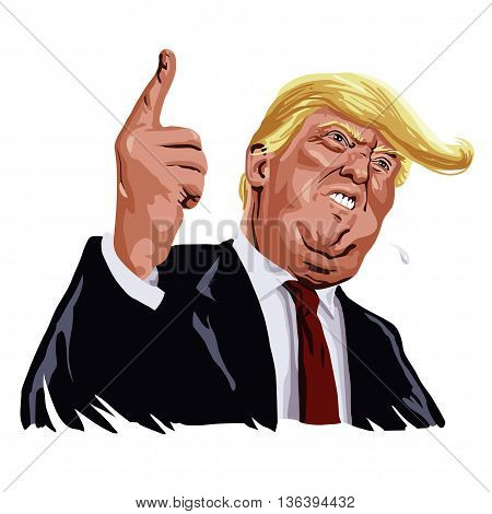 Donald Trump Shouting, You're Fired! Cartoon Caricature