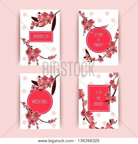 Sakura Cherry Blossoming Tree Vector Background Illustration. Set of Beautiful Floral Banners Greeting cards Wedding Invitations Backdrops Vouchers .