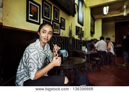 Girl Relax Coffee Cafe Awakening Concept