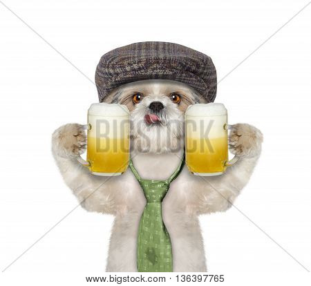 Dog drinks beer and greeting somebody -- isolated on white