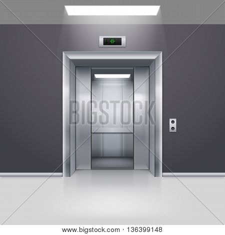 Realistic Empty Elevator with Half Open Door in Lobby