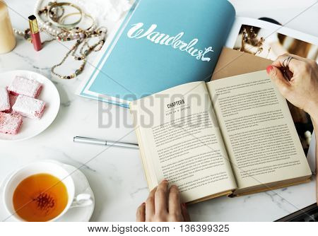 Woman Reading Novel Fiction Magazine Relax Hobby Concept