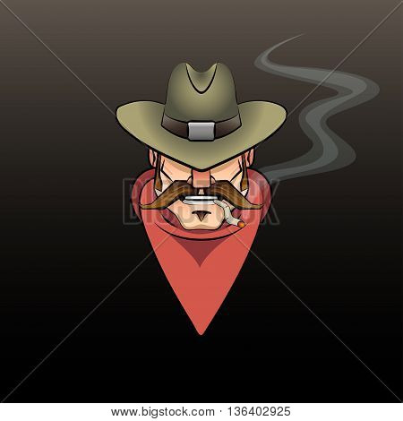 vector illustration of a cartoon portrait of cowboy