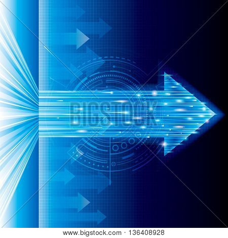 Arrow sign abstract technology blue background.