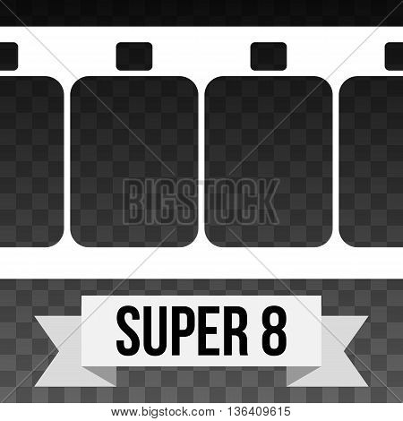 Vector Super 8 Film Strip Illustration on black transparent background. Abstract Film Strip design template with text on white ribbon banner