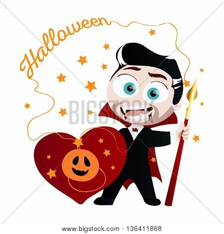 Cute boy in vampire costume. Vampire isolated on white background. Funny vampire in cartoon style. Vector illustration.