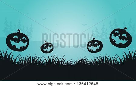 Silhouette of pumpkins and foggy Halloween vector illustration