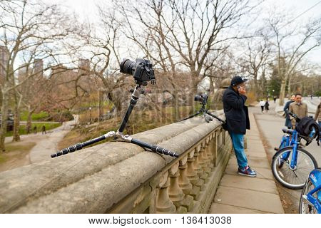 NEW YORK - CIRCA MARCH 2016: digital camera for taking timelapse in Central Park. Central Park is an urban park in middle-upper Manhattan, within New York City.