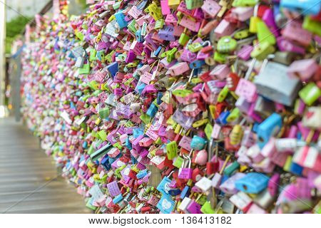 SEOULSouth Korea - MAY 24:Padlock at N Seoul Tower at Seoul tower. MAY 24 2016 in Seoul South Korea