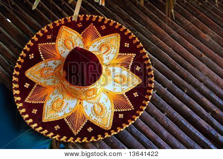 beautiful charro mariachi hat mexican icon from Mexico poster