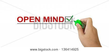 Text Open Mind In Red Colour With Isolated Hand