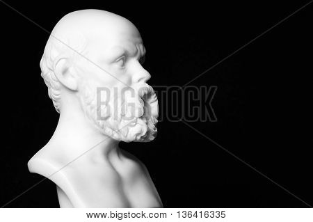 White Marble Bust Of The Greek Philosopher Socrates, Isolated On Black