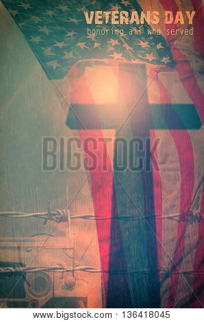 United States Flag cross shadow broken car and barbed wire for Veterans Day Concept