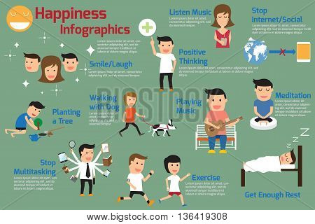 Happiness Infographics. How to Create Your Own Happiness. Keys to a Happy Life. vector illustration.