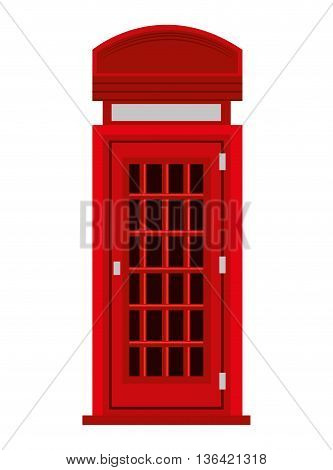 red british telephone cabin and black windows front view over isolated background, vector illustration