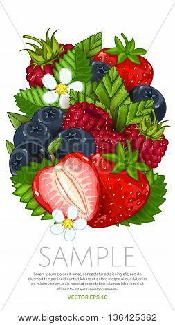 Ingredients for cooking berries yogurt. Vector berries mix, isolated berries on white background. Fresh berries side view. Healthy berries with green leaf. Bunch of berries. Vegans food. Berries background.