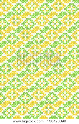 Seamless embroidered texture of abstract flat green and yellow patterns, cross-stitch, ornament for summer