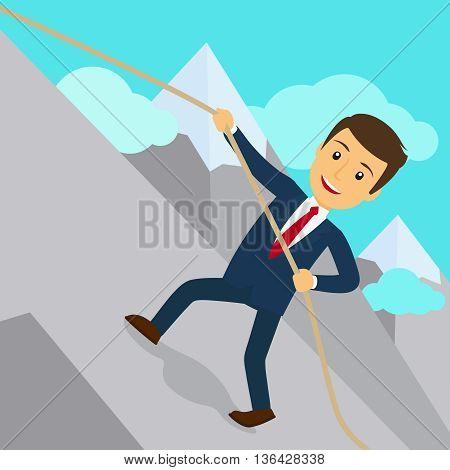 Businessman uphill climb. Business success achievement concept. Vector illustration