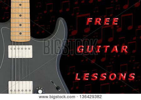 Free electric guitar lessons on black background.
