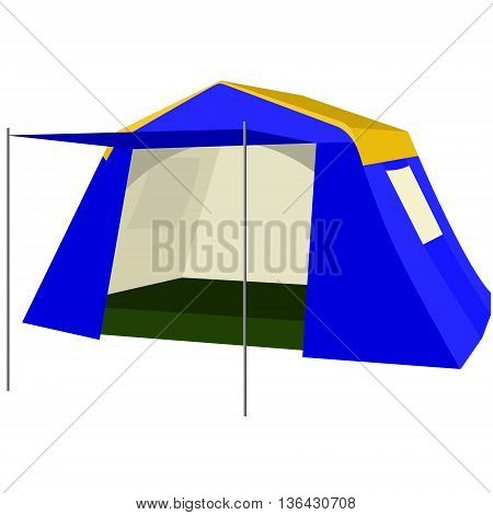 Tent portable and compact device for tourism. The illustration on a white background.