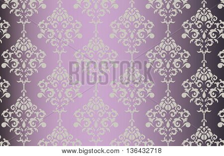 Vector Baroque ornament pattern on shinny gradient background. Design for textures or invitation card. Purple and gold color