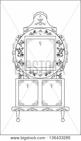 Classic royal ornamented round glass case closet furniture in Biedermeier style. Vector