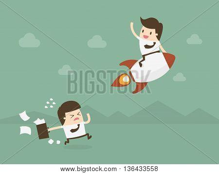 Business competition. Competitive advantage. Flat design business concept illustration.