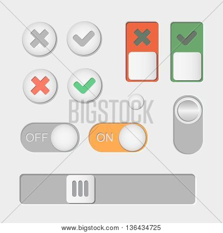 Toggle switch icons. On and Off, Check Mark skrollbar
