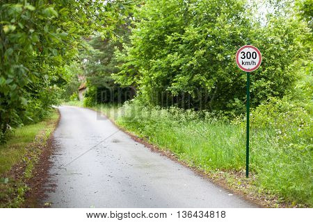 Speed limit sign on the side of the road