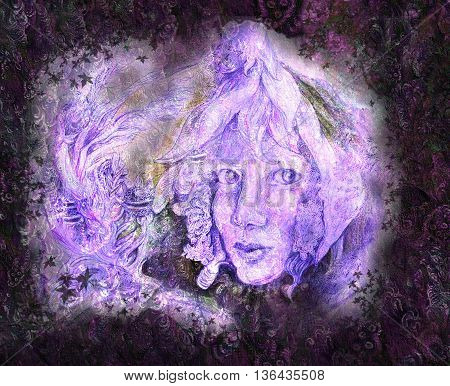 Fantasy Portrait of fairy face coming of snow white flower on structured background.