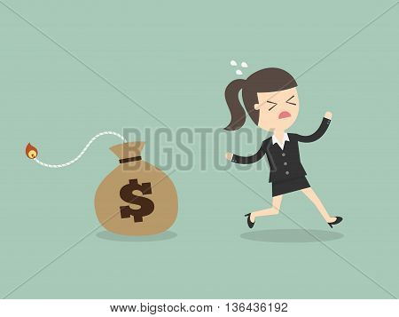 Business Woman Running Away From Money Bomb Inflation Concept. Cartoon Vector Illustration