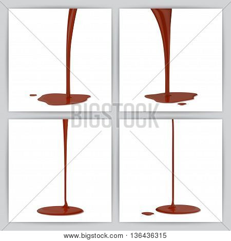 Melted chocolate dripping set on white background.  vector illustration.